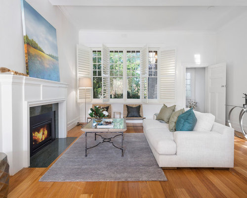 Design Ideas For A Mid Sized Transitional Formal Open Concept Living Room  In Melbourne With