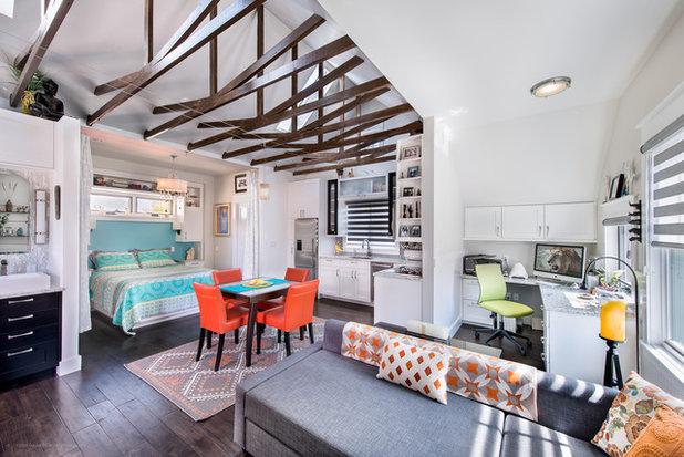 Transitional Living Room by BARRETT STUDIO architects