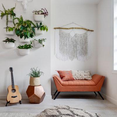 Living room - modern light wood floor living room idea in New York