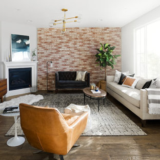 Living room - mid-century modern open concept and formal dark wood floor and beige floor living room idea in San Diego with multicolored walls, a standard fireplace and a tv stand