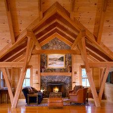 Farmhouse Living Room by Bensonwood