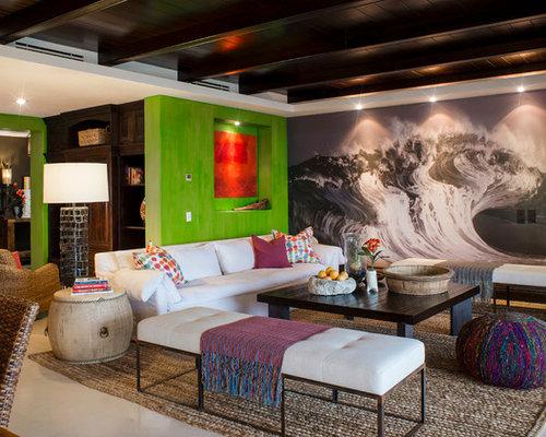 Tropical Living Room With Marble Floors Ideas Design Photos