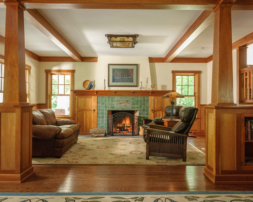 craftsman living room furniture. example of a midsized arts and crafts open concept medium tone wood floor craftsman living room furniture
