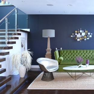 Inspiration For A Mid Sized Contemporary Formal And Open Concept Dark Wood Floor Brown