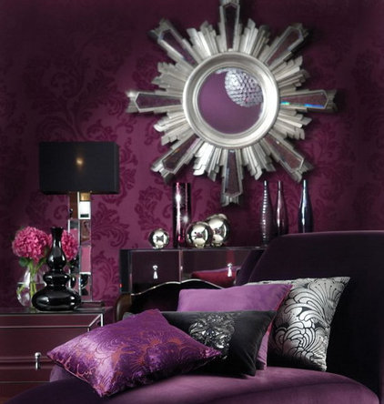 Contemporary Living Room purple in the room
