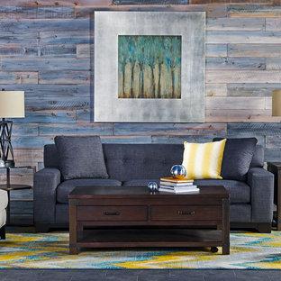 Idee per un soggiorno rustico di medie dimensioni e chiuso con pareti blu, pavimento in ardesia, nessun camino e nessuna TV