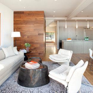 Trendy open concept light wood floor living room photo in San Francisco