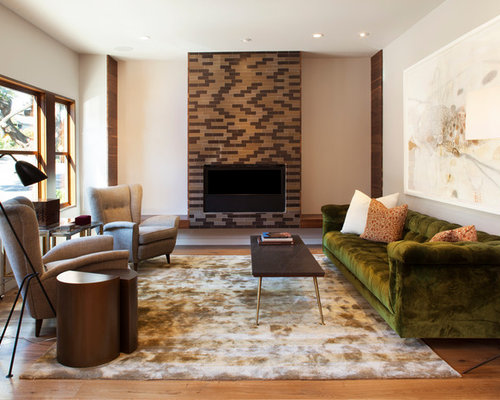 Example Of A Trendy Medium Tone Wood Floor Living Room Design In San  Francisco With A