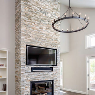 Quartzite ledger stone fireplace
