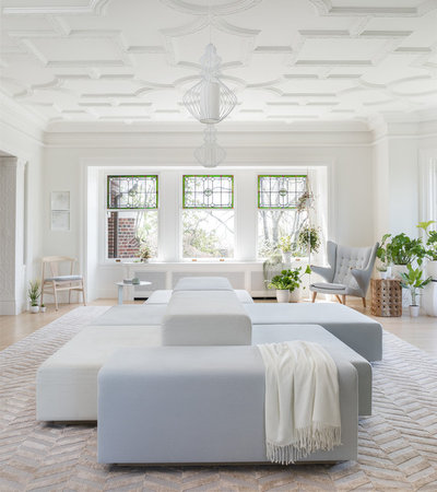 Transitional Living Room by DeForest Architects