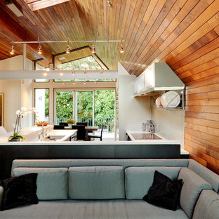 Living room - contemporary open concept living room idea in Seattle