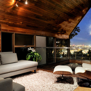 Living room - small contemporary loft-style living room idea in Seattle