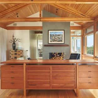 Diseño de salón para visitas abierto, moderno, de tamaño medio, sin televisor, con paredes blancas, suelo de madera clara, chimenea tradicional y marco de chimenea de yeso