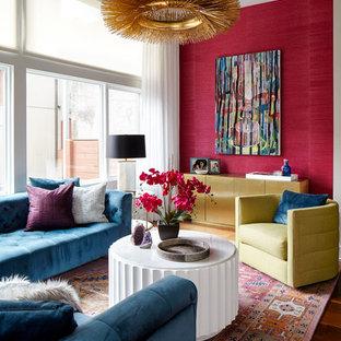 Soggiorno contemporaneo con pareti rosse - Foto e Idee per Arredare