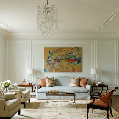 Inspiration for a timeless formal dark wood floor living room remodel in Charlotte with blue walls