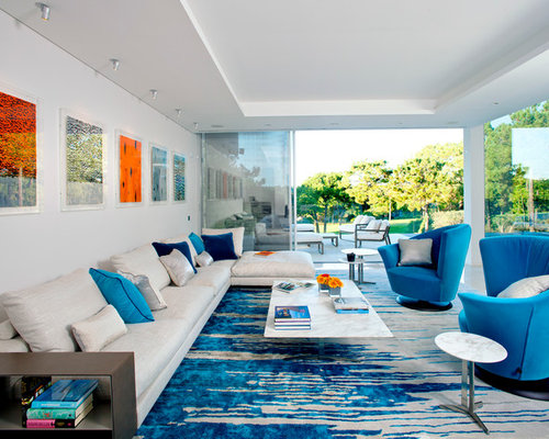 Inspiration For A Large Contemporary Formal And Open Concept Living Room  Remodel In London With White