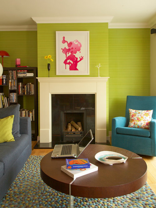 Best lime green couch design ideas remodel pictures houzz - Green living room wallpaper ...