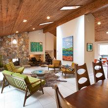 White tile living room floors
