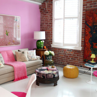 Eclectic living room photo in Vancouver with pink walls