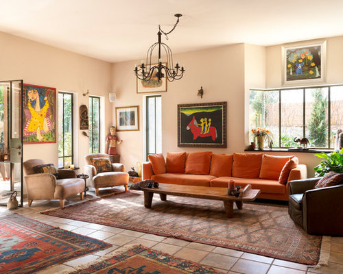 Eclectic living room design ideas renovations photos with terra cotta floors for Terracotta living room ideas