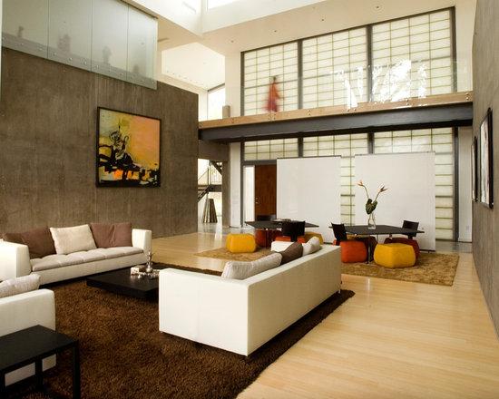 Modern Living Room Orange orange yellow brown black tan accents | houzz