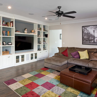 Inspiration for a transitional living room remodel in Miami with beige walls