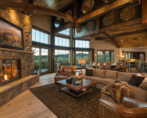 Rustic Living Room With A Corner Fireplace Ideas Design Photos