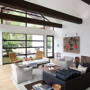 Esempio di un soggiorno design aperto con pareti bianche, parquet chiaro, camino lineare Ribbon e divano davanti alla finestra