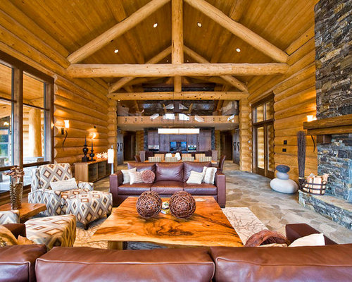 Inspiration For A Rustic Open Concept Living Room Remodel In Vancouver With  A Standard Fireplace