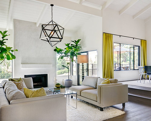 example of a trendy living room design in san diego - Living Room Overhead Lighting