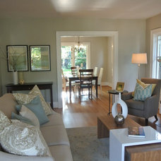 Transitional Living Room by Open House Staging