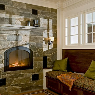 Reading nook with masonry heater and encaustic tile floor