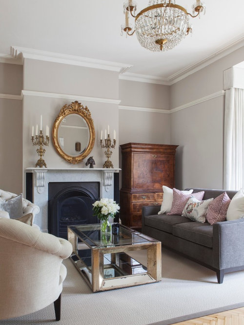 Design Ideas For A Traditional Formal Living Room In London With Grey  Walls, Light Hardwood