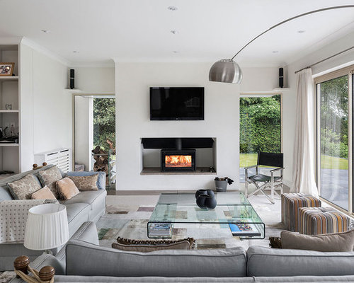Inspiration For A Contemporary Living Room In Berkshire With A Wood Burning  Stove, A Wall