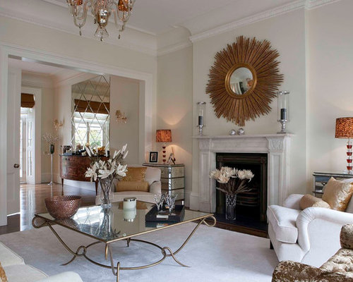 Inspiration For A Large Contemporary Formal Open Concept Living Room Remodel In London With White Walls