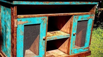 Reclaimed teal TV console