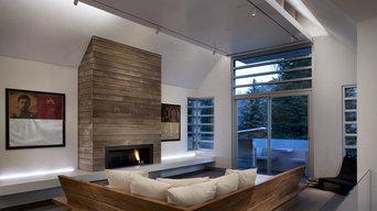 Reclaimed wood flooring + paneling