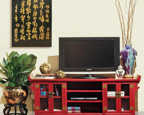 photos et id es d co de pi ces vivre asiatiques rouges. Black Bedroom Furniture Sets. Home Design Ideas