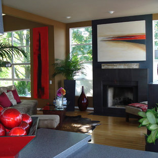 Inspiration for a contemporary living room remodel in Portland with brown walls and a standard fireplace