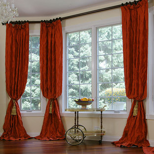 Red Drapery Panels for Hinsdale Bay Window