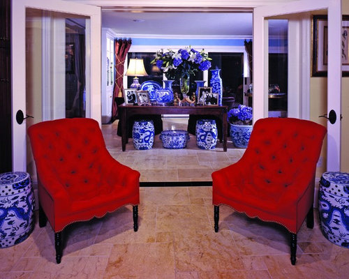 Inspiration For A Timeless Living Room Remodel In Los Angeles With Blue  Walls Part 14