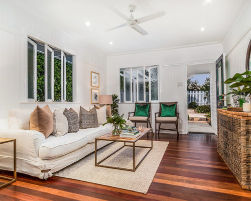 Design Ideas For A Small Traditional Living Room In Townsville With White  Walls, Medium Hardwood