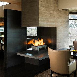 デンバーのコンテンポラリースタイルのおしゃれなリビング (両方向型暖炉) の写真