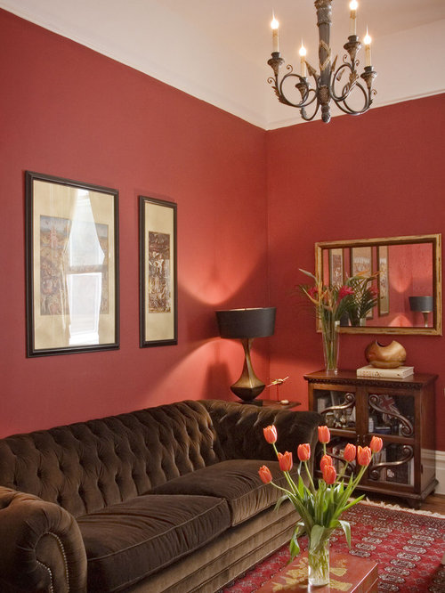 Wall color with red couch home design ideas pictures - Red gold and brown living room ...