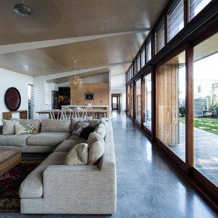 Imagen de salón abierto, actual, grande, con suelo de cemento y suelo azul