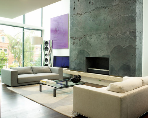 Fireplace feature wall ideas pictures remodel and decor - Wall design for contemporary living room ideas ...