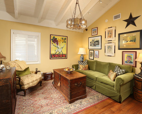 Eclectic Medium Tone Wood Floor And Brown Floor Living Room Idea In Los  Angeles With Yellow Part 43