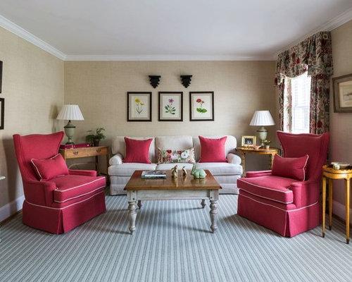 Elegant Formal Gray Floor Living Room Photo In DC Metro With Beige Walls Part 45
