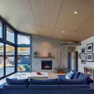 Esempio di un grande soggiorno contemporaneo aperto con pareti beige, parquet chiaro, camino classico e cornice del camino in cemento