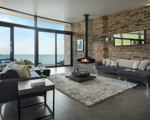 Design Ideas For A Large Contemporary And Modern Open Plan Living Room In  Cornwall With Porcelain